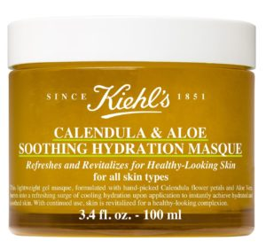 Kiehl's Calendula & Aloe Soothing Hydration Masque - For a soothing relief instant cooling sensation to refresh and hydrate for visible smoothness and reduced signs of unbalanced distressed skin. Hand picked Calendula flower petals, Aloe & natural aromon, paraben and color free. fashionsdigest.com