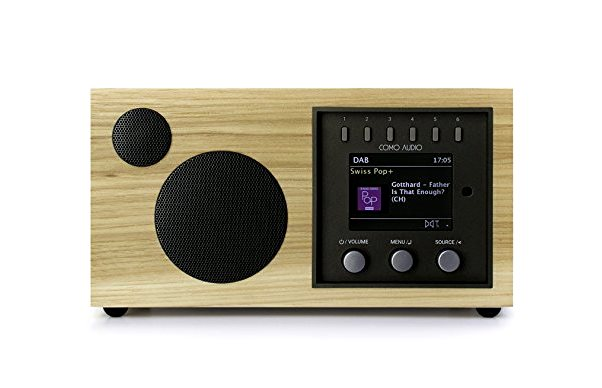 Como Audio SOLO Smart Speaker in Hickory, Walnut,, white black panels- fashionsdigest.com
